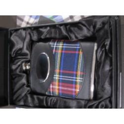 Flasque inox tartan royal stewart cuir noir