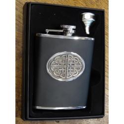 Flasque inox celtique cuir noir (ref 948)